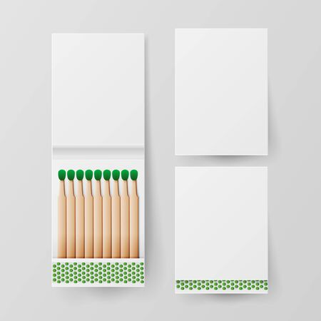 Book Of Matches . Top View Closed Opened Blank. For Adding Your Packing Design And Advertising. Realistic Banco de Imagens