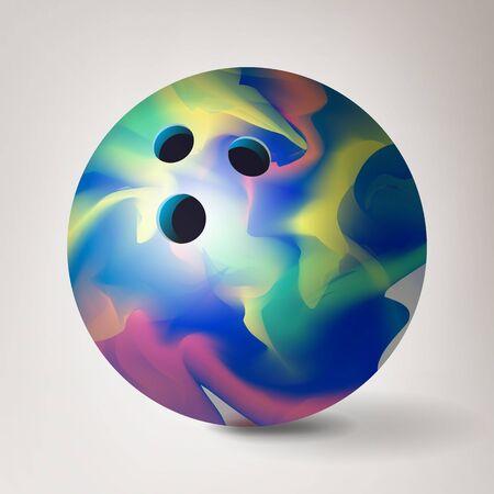 Bowling Ball . 3D Realistic Illustration. Glossy Shiny Standard-Bild