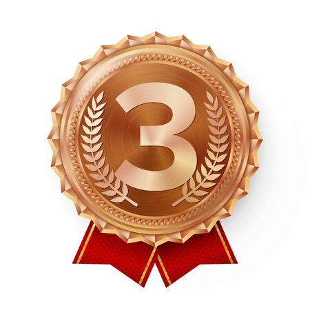 Bronze Medal . Bronze, Copper 3rd Place Badge. Sport Game Bronze Challenge Award. Red Ribbon. Isolated. Olive Branch. Realistic Illustration. Stock Photo