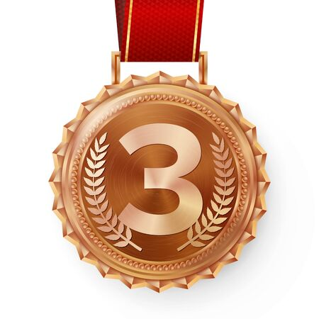 Bronze Medal . Bronze, Copper 3rd Place. Ceremony Winner Honor Prize. Isolated On White. Olive Branch. Realistic Illustration.