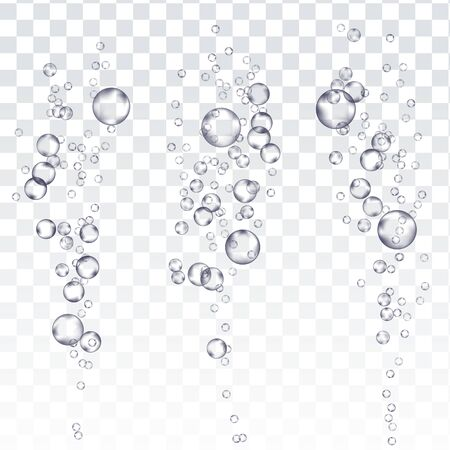 Underwater Bubbles . Fizzing Air Stream. Soda Pop Effect. Champagne. Realistic Isolated Illustration