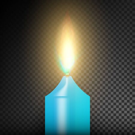 Burning 3D Realistic Dinner Candles. Dark Background Stock Photo
