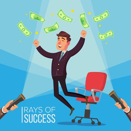 Happy Manager, Businessman . Man Worker Getting A Lot Of Money And Jumping From An Office Chair. Flashlight And Hand. Flat