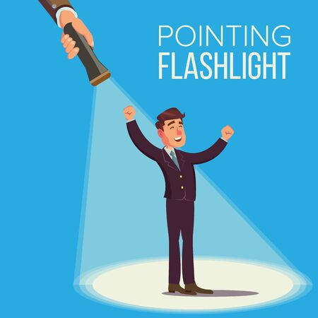 Choosing An Employee Concept. Smiling Business Man In Suit. Standing. Person For Hiring. Flashlight Pointing To Happy Employee. Select People. Flat Stock Photo