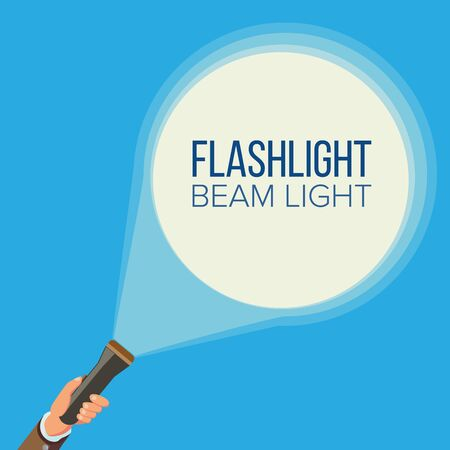 Flashlight And Hand . Business, Web Search Concept. Pointing And Being Guided. Spotlight And Beam Light. Flat Stock Photo