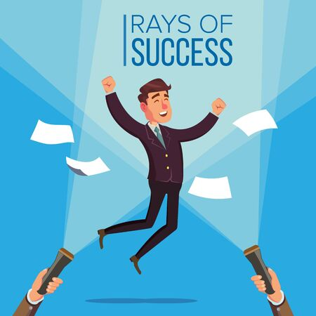 Happy Manager, Businessman . Jumping On The Workplace. Rays Of Success Concept. Flashlight And Hand. Flat