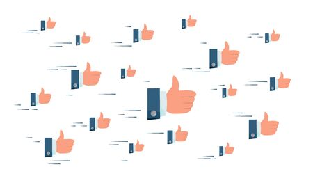 Thumbs Up Cloud . Flying Businessman Hands. Social Media Like Symbols Networking Concept. Illustration Stock Photo