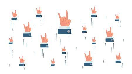 Rock N Roll Hand Sign . Flying Businessman Hands. Social Media Cool Rock Symbols Networking Concept. Illustration