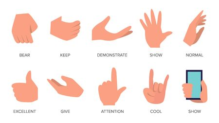 Gestures Set . Hands In Different Emotions. Various Arm Gestures Signs. Flat Cartoon Isolated