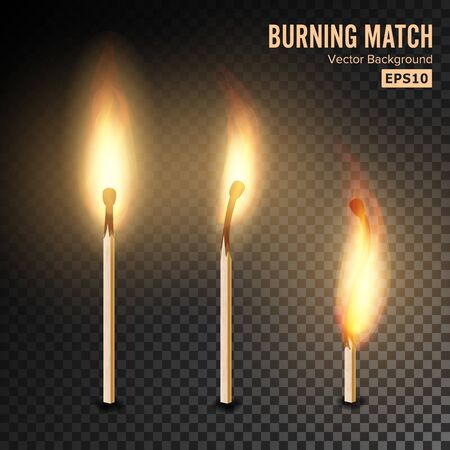 Realistic Burning Match . Matchstick Flame. Transparency Grid