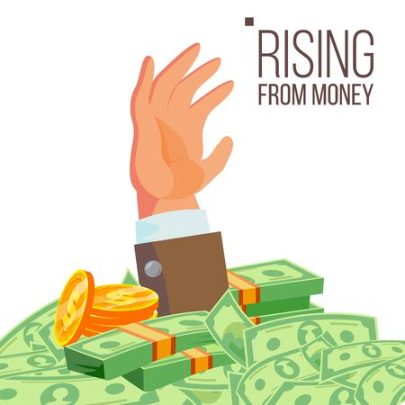 Businessman Hand Rising From Money . Isolated Illustration