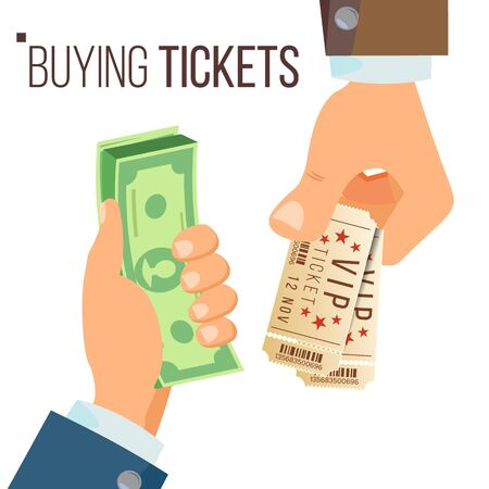 Buying And Selling Tickets . Hands Holding Money And Two Tickets. Buying Tickets For Cinema, Party, Zoo, Circus. Isolated Illustration Stock Photo