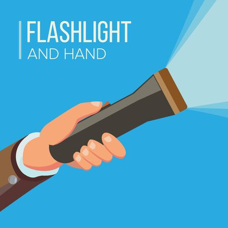 Hand Holding Flashlight . Business Search Concept. Electric Spotlight And Beam Light. Bright Ray. Flat Фото со стока