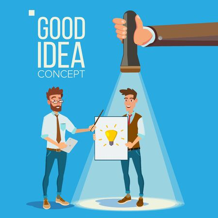 Good Idea Concept. Smiling Office Workers. Standing. Flashlight Pointing Clerk With Good Idea. Business Meeting. Teamwork. Brainstorming Or Presentation Of The Project. Flat
