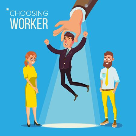 Choosing Worker . Smiling Business Man In Suit. Standing Office Workers. Person For Hiring. Hand Choose Happy Employee. Having A Job Interview With HR. Job And Staff, Human And Recruitment