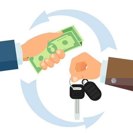 Hand Giving Car Keys . Business Car Rental, Sale Concept. Car Salesman And New Owner. Holding Car Key, Money. Flat Cartoon Isolated