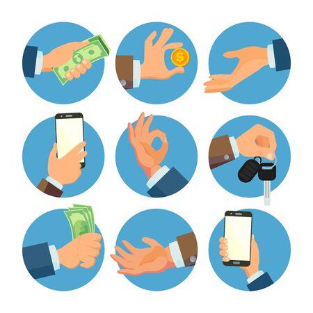 Businessman Hands Set . Salesman, Worker. Banking Finance Sale Concept. Human Hand Business Banner. Hand Holding Smart Phone, Keys. Giving, Receiving Money. Flat Cartoon Isolated Stock Photo