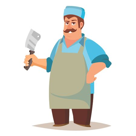 Professional Butcher . Classic Butcher Man With Knife. Eco Farm Organic Market. For Storeroom Advertising. Cartoon Isolated Illustration.