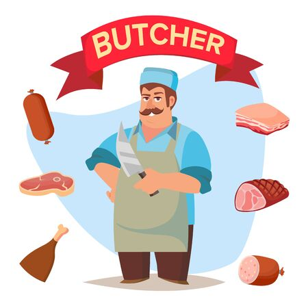 Classic Butcher . Professional Butcher Man With Meat Cleaver. For Meat Market Advertising Concept. Eco Farm Organic Market Meat. Cartoon Isolated Illustration.
