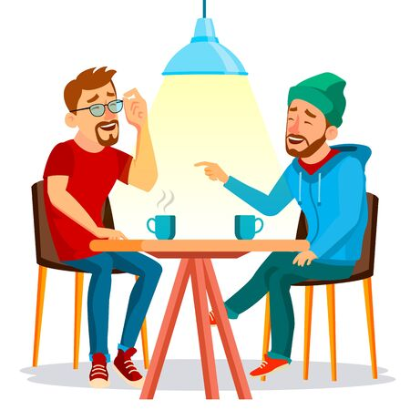 Friends In Cafe . Two Man. Drinking Coffee. Bistro, Cafeteria. Coffee Break Concept. Lifestyle. Communication, Laughter Isolated Cartoon Illustration