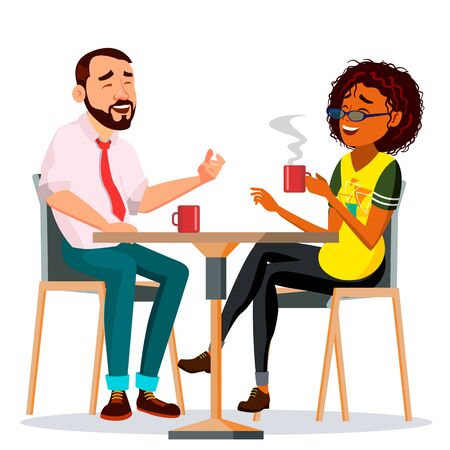 Couple In Restaurant . Friends Or Boyfriend, Girlfriend. Man And Woman. Sitting Together And Drinking Coffee. Isolated Cartoon Illustration