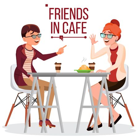 Two Woman Friends Drinking Coffee . Best Friends In Cafe. Sitting Together In Restaurant. Communication, Laughter. Isolated Cartoon Illustration