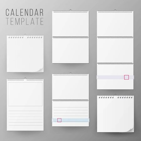 Calendar Template Set . Realistic Calendar Blank Hanging On A Wall. Blank Office Calendar Mock Up. Realistic Sheets Of Paper. Empty Mock Up. Stock Photo