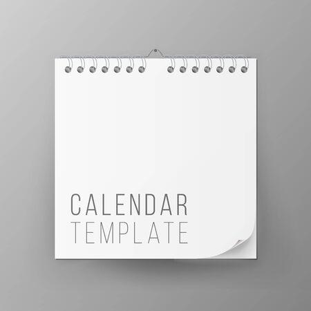 Calendar Template . Realistic Calendar Blank Hanging On A Wall. Empty Mock Up. illustration