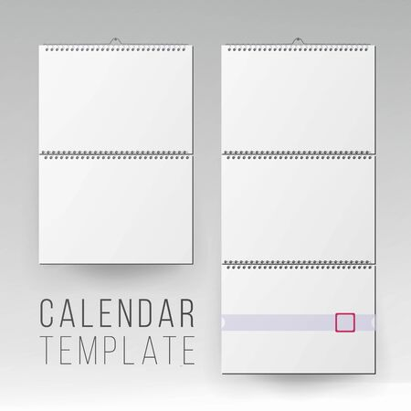 Spiral Calendar . Blank Office Calendar Mock Up. Realistic Sheets Of Paper. Empty Mock Up Wall Calendar Illustration.