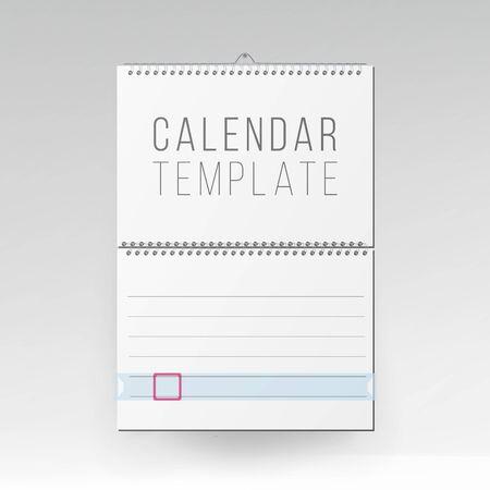 Wall Calendar Mock Up . Template Square Spiral Calendar.