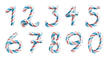 Numbers Sign Set . 3D Numerals. Figures 1, 2, 3, 4, 5, 6, 7, 8 9 0 Christmas Colours Red Blue Striped Classic Xmas Mint Hard Candy Cane New Year Design Isolated On White