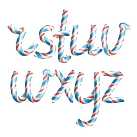 Letters R, S, T, U, V, W, X, Y, Z. . 3D Realistic Candy Cane Alphabet Symbol In Christmas Colour New Year Letter Textured With Red, Blue. Typography Craft Isolated Object. Xmas Art