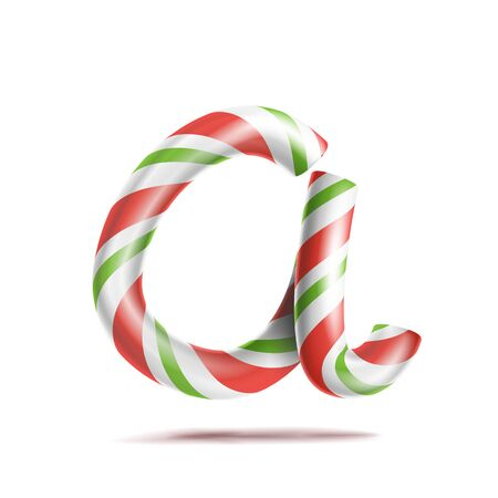 Letter A . 3D Realistic Candy Cane Alphabet Symbol In Christmas Colours. New Year Letter Textured With Red, White. Typography Template. Striped Craft Isolated Object. Xmas Art Stock Photo
