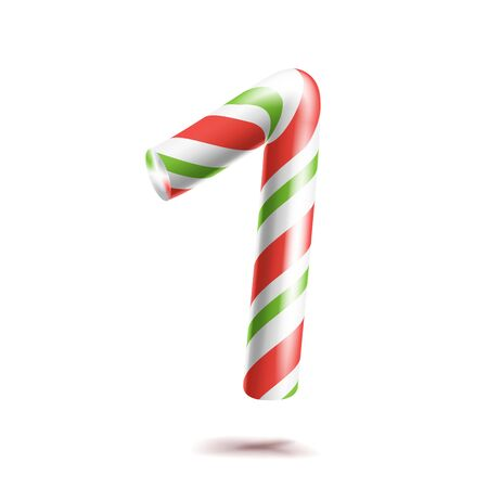 1, Number One . 3D Number Sign. Figure 1 In Christmas Colours. Red, White, Green Striped. Classic Xmas Mint Hard Candy Cane. New Year Design. Isolated
