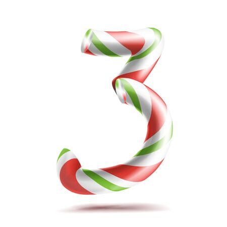 3, Number Three . 3D Number Sign. Figure 3 In Christmas Colours. Red, White, Green Striped. Classic Xmas Mint Hard Candy Cane. New Year Design. Isolated