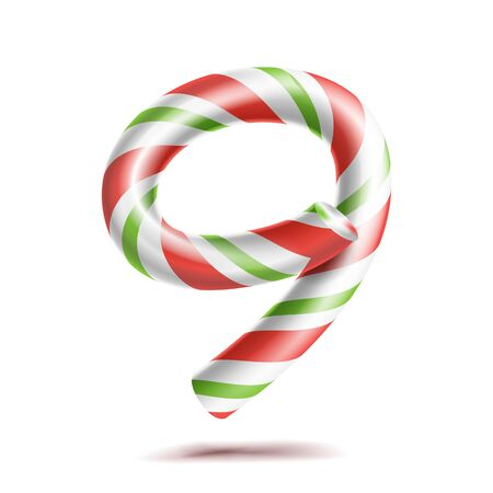 9, Number Nine . 3D Number Sign. Figure 9 In Christmas Colours. Red, White, Green Striped. Classic Xmas Mint Hard Candy Cane. New Year Design. Isolated
