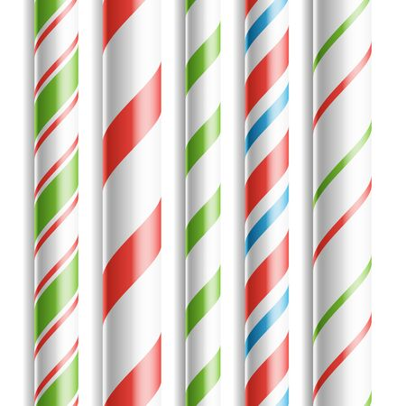 Xmas Candy Cane . Horizontal Seamless Pattern Isolated On White. Good For Christmas Banner And New Year Design. Realistic Illustration Stock Photo
