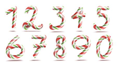Numbers Sign Set . 3D Numerals. Figures 1, 2, 3, 4, 5, 6, 7, 8 9 0 Christmas Colours Red Green Striped Classic Xmas Mint Hard Candy Cane New Year Design Isolated On White