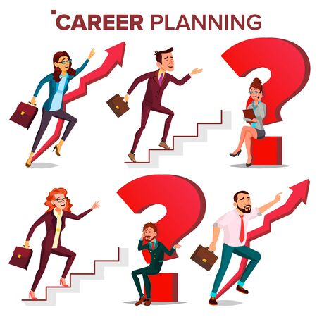 Career Planning . HR Concept. Find New Job. Huge Red Question Mark. Fast Career Growth. Job Success Concept. Stairs. Step By Step. Business Woman, Businessman. Achieve. Cartoon Illustration