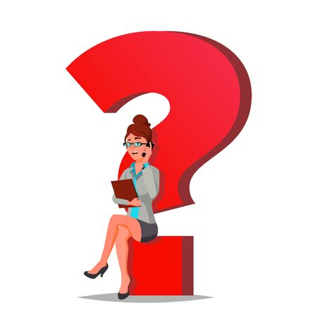 Question Mark Business Woman . Thinking. Find Next Job, Project. HR. Sitting On Question Mark. Cartoon Illustration Standard-Bild - 128792978