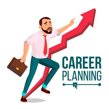 Businessman Career Planning . Fast Success Concept. Mission. Huge Red Arrow. More Profit. Cartoon Illustration