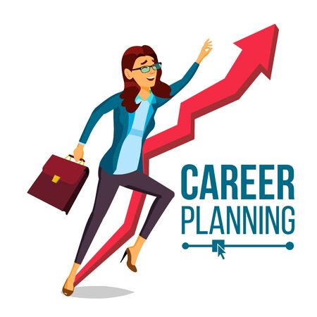 Business Woman Career Planning . Fast Career Growth. Achieve Goal. Huge Red Arrow. More Profit. Cartoon Illustration Stock fotó