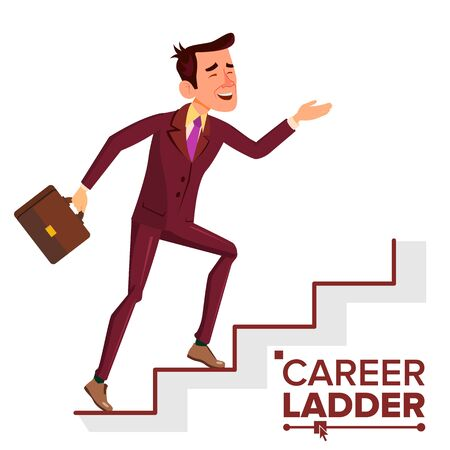 Businessman Climbing Career Ladder . Fast Growth. Job Success Concept. Stairs. Step By Step. Cartoon Illustration Standard-Bild - 128792982