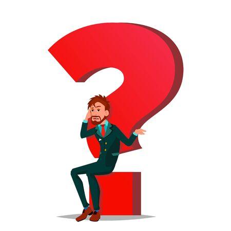 Question Mark Businessman . Task, HR Concept. Find New Job. Huge Red Question Mark. Cartoon Illustration Stock Photo
