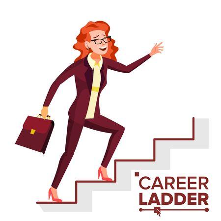 Business Woman Climbing Career Ladder . Fast Growth. Stairs. Job Success Concept. Step By Step. Cartoon Illustration Standard-Bild - 128792979