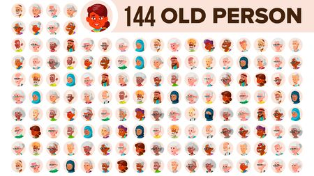 Old People Avatar Set . Multi Racial. Face Emotions. Multinational User Person Portrait. Elderly Male, Female. Ethnic. Icon. Asian, African European Arab Illustration