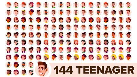 Teenager Avatar Set . Girl, Guy. Multi Racial. Face Emotions. Multinational User People Portrait. Male, Female. Ethnic. Modern Default Placeholder Icon. Flat Illustration