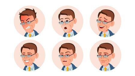 Business Avatar Man . Facial Emotions. User Portrait. Modern Employer. Various Head. Communication. Isolated Flat Cartoon Illustration