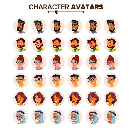People Avatar Set . Man, Woman. Default Placeholder. Colored Member. User Person. Expressive Picture. Round Portrait. Comic Face Art. Cheerful Worker. Flat Cartoon Character Illustration