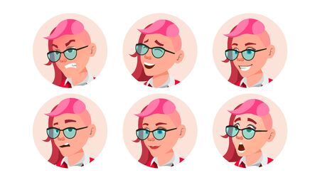 Woman Avatar People . Facial Emotions. Emo, Freak Hairstyle. Pink. User Person. Beauty Lady. Happy, Unhappy. Expressive Picture Isolated Flat Cartoon Illustration